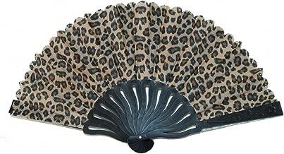 Feng Shui Import Leopard Style Hand Fan with Black Slab (Brown)