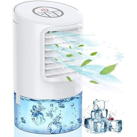 Mini Raffreddatore D'aria, Personale Air Condizionatori Cooler Ventilatore 3IN1 Evaporativo Umidificatore Purificatore D'aria 3 Velocità 7 Colori Luce 2/4H Timer Basso Rumore per Casa Ufficio-Mkocean