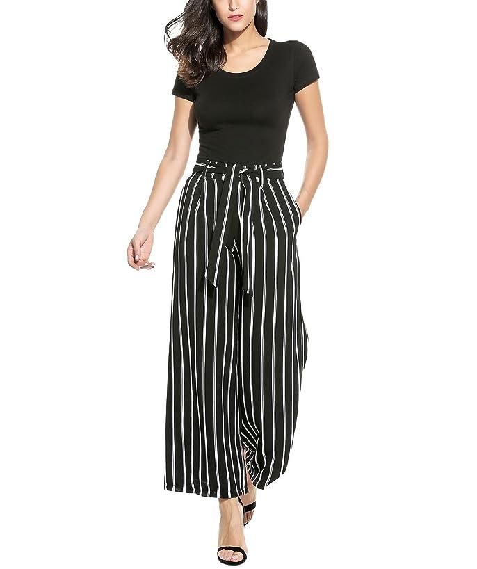 Bifast Women Fashion Casual Loose Wide Leg Striped High Waist Palazzo Pants With Belt S-XXL