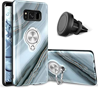 eSamcore Samsung Galaxy S8 Case – Luxury Marble Ring Holder Phone Cases + Vent Car Phone Mount for Samsung Galaxy S8 [Granite Gray]