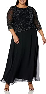 J Kara womens Plus Size Long Scoop Neck Asymetrical Beaded Dress