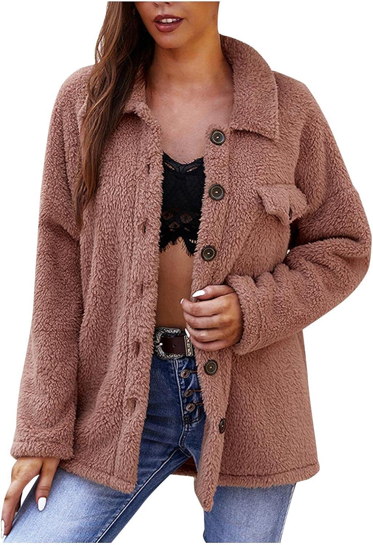 Women's Solid Color Pocket Jacket Lapel Sweatershirt Winter Warm Wool Coat Outwear Plush Sweater Open Front Coats