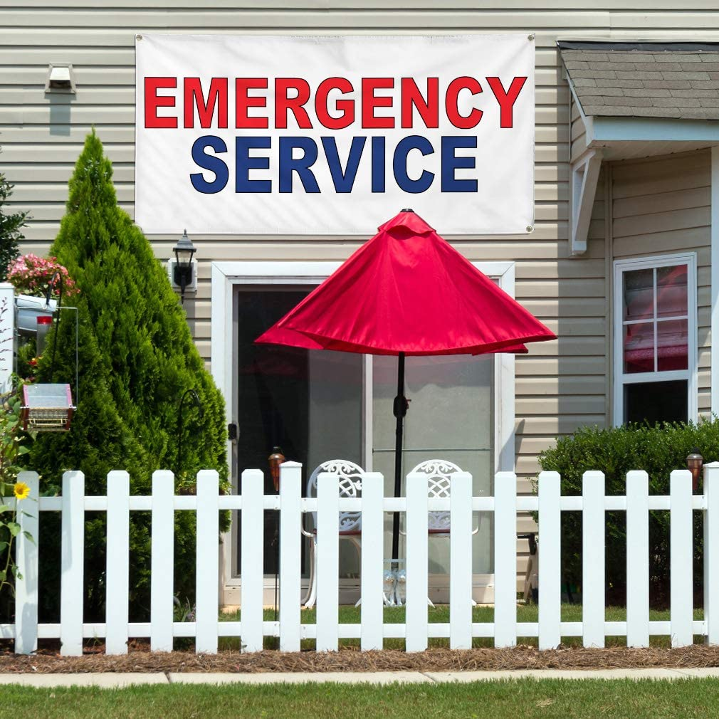 Vinyl Banner Multiple Sizes Emergency Service Red Blue Health Care Outdoor Weatherproof Industrial Yard Signs 8 Grommets 48x96Inches