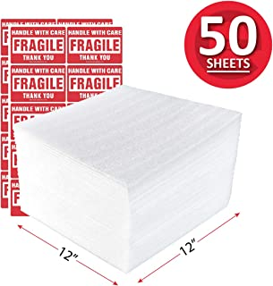enKo 12 x 12 Inch (50-Pack) Foam Wrap Cushion Wrap Sheets for Moving Shipping Packing Supplies