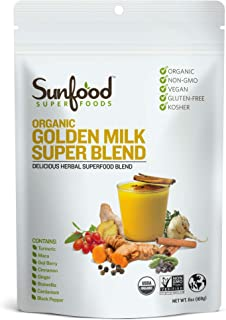 Sunfood Superfoods Golden Milk Super Blend - All Natural, Organic Ingredients | Ultra-Clean (No Chemicals, Artificial Flav...