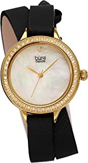 Crystal Studded Bezel - Safiano Leather Women's Watch - Fashionable Double Wrap Strap, Genuine Diamond Marker, Mother of Pearl Dial -BUR224