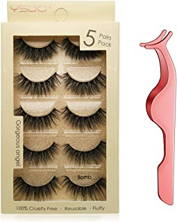 Sponsored Ad - Leipple False Eyelashes 5 Pairs - Professional Reusable 3D Mink Lashes - Handmade Natural Thick Fluffy Fake...