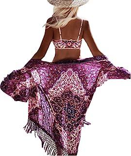 Bsubseach Women Bohemian Chiffon Bikini Swimsuit Cover Up Swimwear Tassel Cardigan