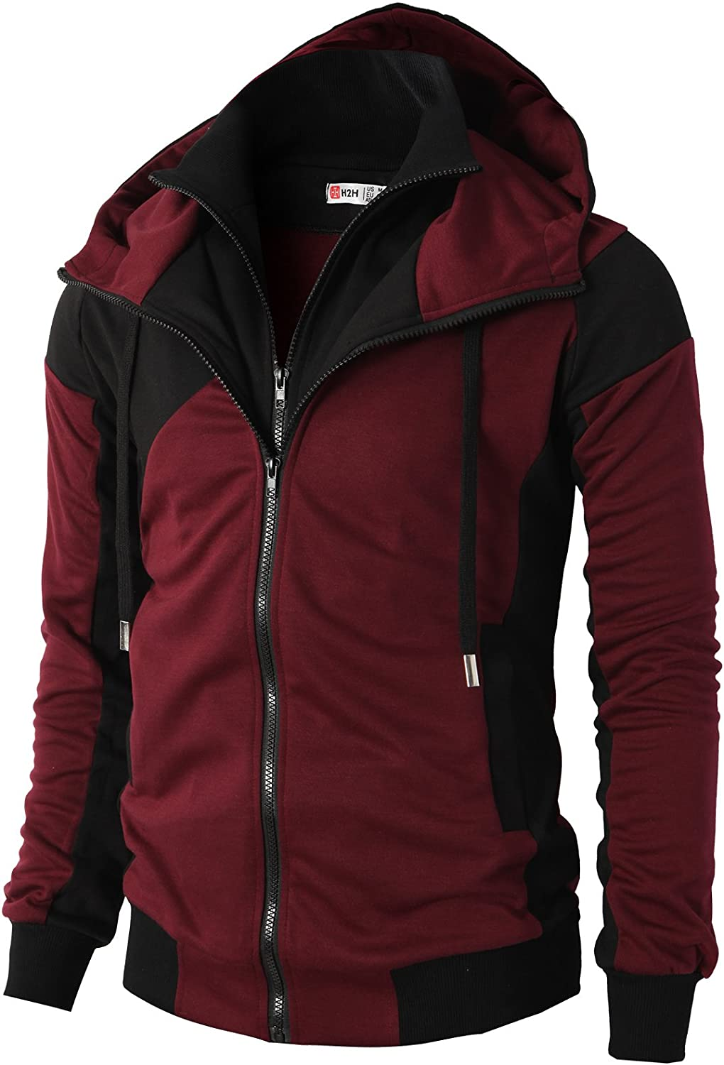 H2H Mens Fashion Double Zipper Closer Hoodie ZipUp with Two Tone color
