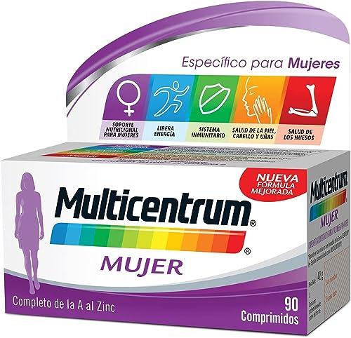 Multicentrum Mujer Complemento Alimenticio Multivitaminas con 13 Vitaminas y 11 Minerales, Sin Gluten, 90 Comprimidos