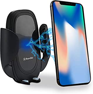 Car Phone Mount Wireless Charger - Compatible with iPhone X XS XS Max XR 8 Plus - Samsung Galaxy S9 S9+ S10 S10+ Note 9 - QI Enabled No Slip Side Pad & Strong Bracket - Cable & Accessories Included