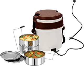 Cello Newton Electric Container Lunch box_White Brown, Set Of 3