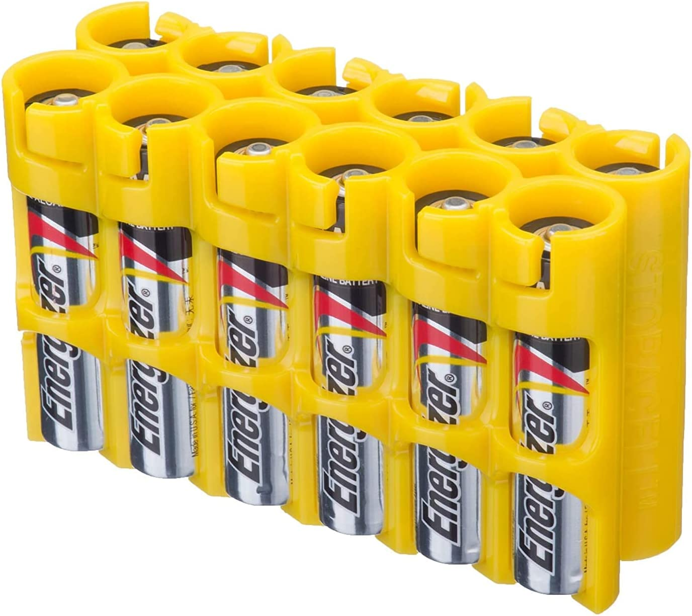 Storacell AAA12pkCY AAA Battery Caddy, Yellow, Holds 12 AAA Batteries (2 Pack)