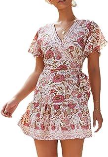Womens Sim Fit Bohemia Style Floral Print Beach V Neck Mini Dress