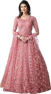 Nir Fashion Women's Chain Stitch Semi-Stitched Net Anarkali Gown, Up To 56 Inches (Pink, Free Size)