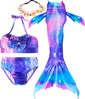 bfb8e7696a3ae Garlagy 3 Pcs Girls Swimsuit Mermaid Tails for Swimming Princess Bikini  Bathing Suit Set Can Add