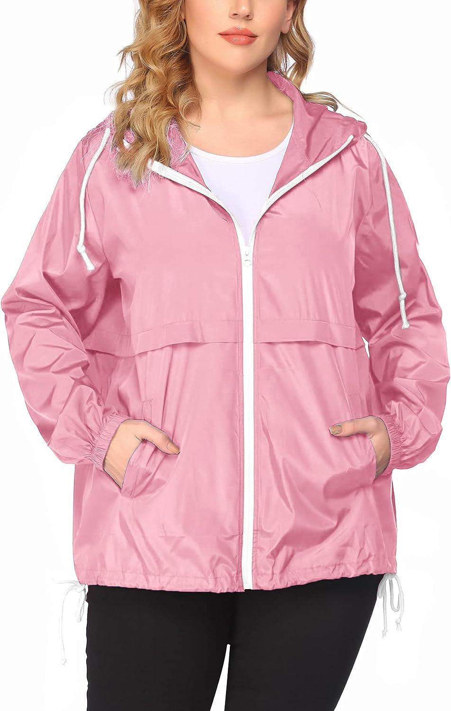 Max 52% OFF Women's Plus Inexpensive Size Raincoat Rain Co Waterproof Lightweight Jacket