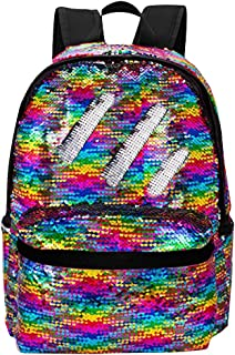 Reversible Sequins School Backpack for Girl Kids Lightweight Travel Backpack Daypack (Rainbow/Silver)