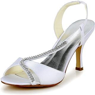 JIA JIA Chaussures de Mariée pour Femme 1412 Bout Ouvert Mi Talon Sandales en Satin Strass Chaussures de Mariage