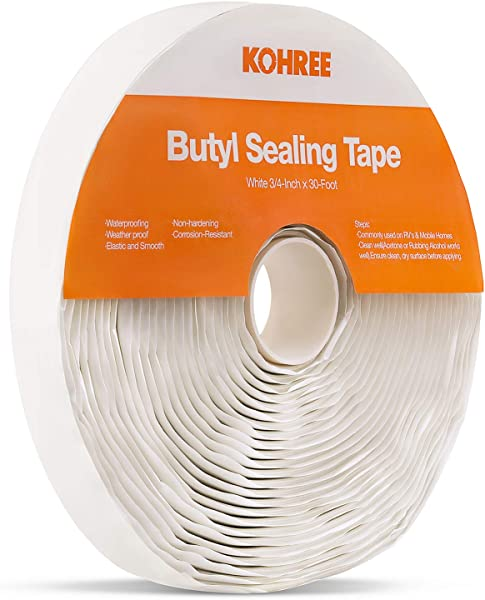 Kohree Butyl Seal Tape RV Putty Rubber Sealant Tape White 1 8 Inch X 3 4 Inch X 30 Foot Leak Proof Butal Tape For RV Repair Window Boat Sealing Glass And EDPM Rubber Roof Patching