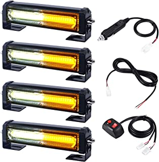 12V 24V Surface Mount Emergency Flasher LED Grill Light-Head, WOWTOU Amber White Hazard Warning Strobe Safety Light Bar for Truck Tractor Trailer POV SUV Pilot Car Escort Vehicles