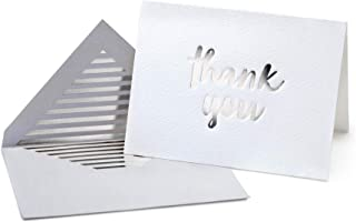 Luxury Silver Foil Letterpress Thank You Cards and Gray Envelopes 20 Pack - Opie's Paper Company (Silver)