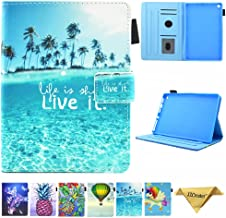 Folio Case for Kindle fire HD 8, JZCreater Slim Leather Standing Case Cover with Auto Wake/Sleep for All-New Fire HD 8 Tablet (2018 2017 and 2016 Release, 8th/7th/6th Generation), Sea Island