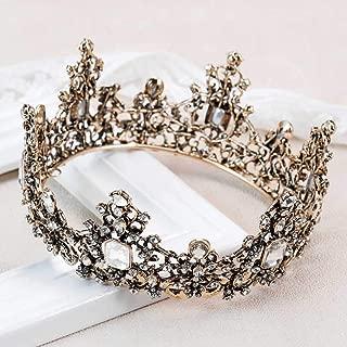 Aukmla Rhinestone Crown Gothic Wedding Headpiece Tiara Dolce Baroque Crown Bridal Crystal Tiara Diadem Cosplay Dark Evil Queen Crown for Women and Girls (Bronze)
