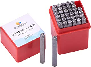 """PandaHall Elite 36 Pcs Letter and Number Metal Stamp Set, 5/32"""" 4mm, Alphabet A to Z and Number 0 to 9 and Symbol, Iron Up..."""