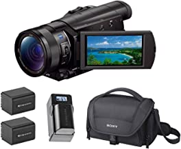 Sony FDR-AX100/B 4K UHD Video Camera with 3.5-Inch LCD (Black), Bundle Kit with 2 Green Extreme Extra Batteries Soft Carrying Case + Smart Charger with LCD Screen