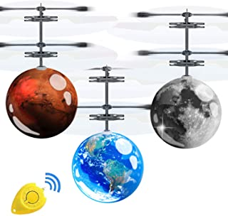 AMENON 3 Pack Flying Ball Toys Kids Holiday Birthday Gifts for Boys Girls 6-14 Years Light Up Hand Operated Drones Hover Ball Recharge Helicopter with Remote Controller Indoor Outdoor Sports Toy