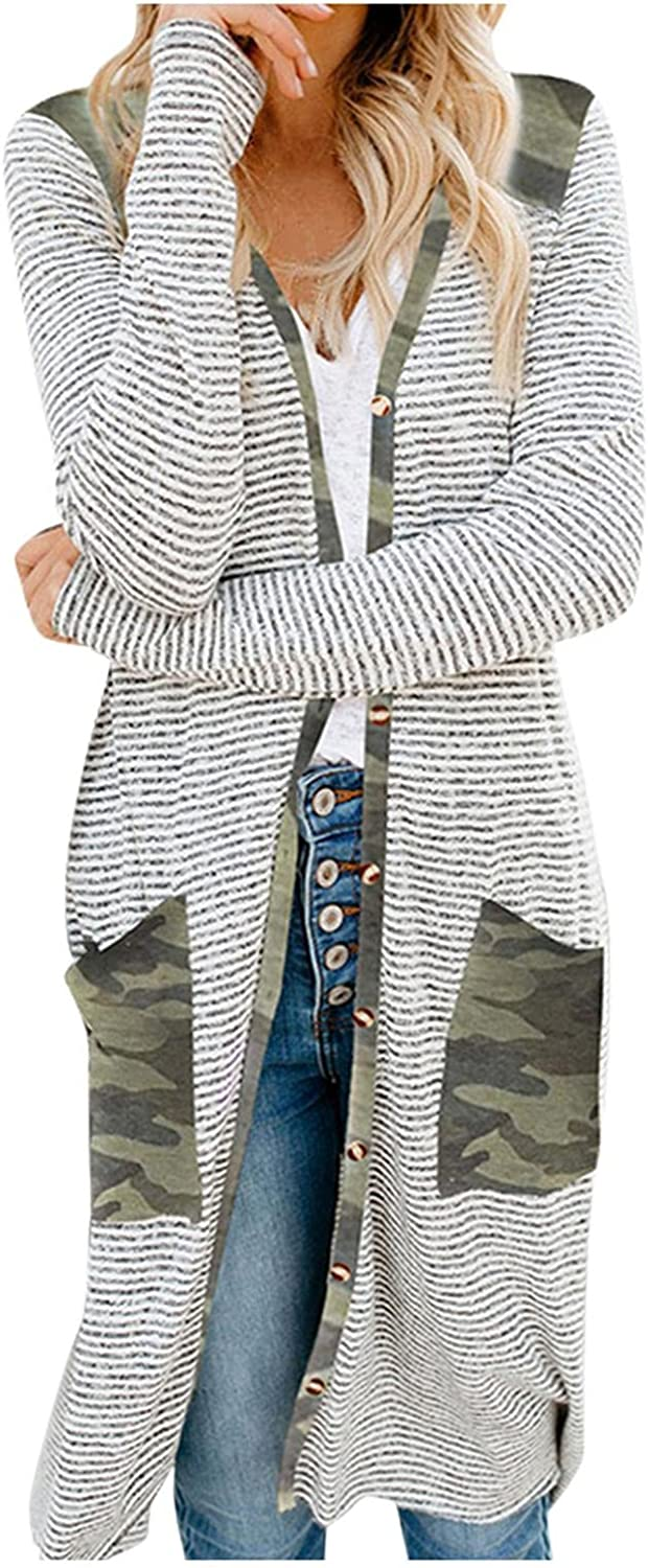 AODONG Cardigan Sweaters for Women Fashion Split Open Front Long Cardigan with Pockets Long Sleeves Knitted Cardigan