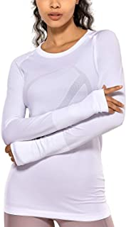CRZ YOGA Women's Active Long Sleeve Sports Running Tee Top Seamless Leisure T-shirt