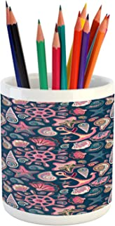 Lunarable Seashell Pencil Pen Holder, Colorful Art Pattern of Marine Nautical Creatures Starfish Snail Shell, Ceramic Pencil Holder for Desk Office Accessory, 3.6