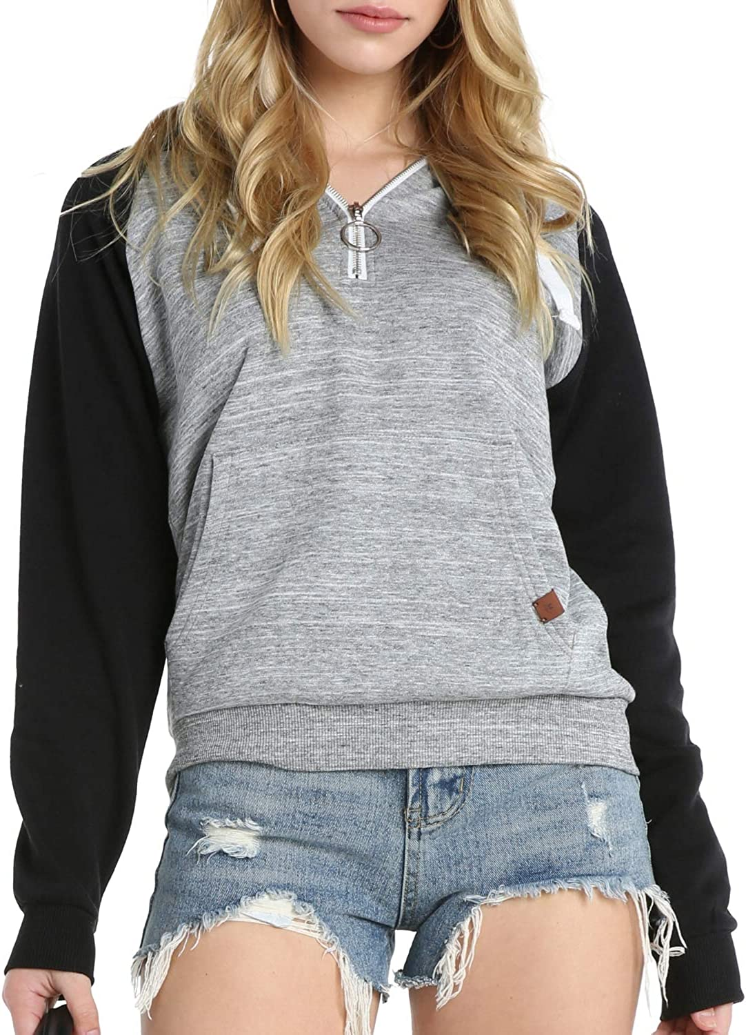 Doublju low-pricing Women's Casual Lace Up Columbus Mall Pullover with Hoodie Pocket