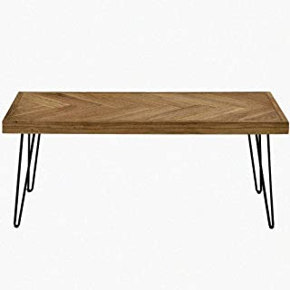 Romatlink Coffee Table for Living Room Industrial Cocktail Square Classic Design Wooden Modern Tea Table with Pattern and Metal Hairpin Legs for Cafe and Lounge Easy Assembly