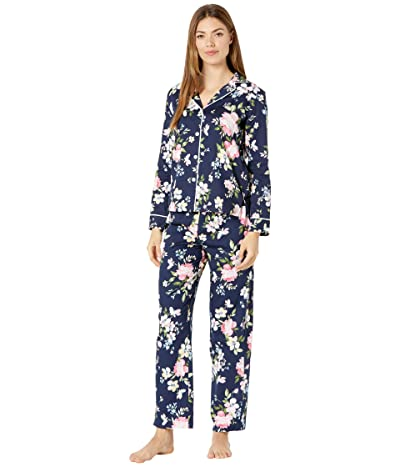 LAUREN Ralph Lauren Classic Woven Long Sleeve Pointed Notch Collar Long Pants Pajama Set (Navy Print) Women