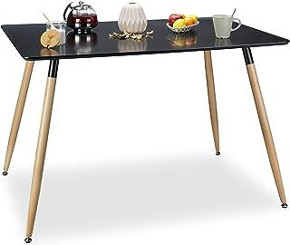Relaxdays Table à manger ARVID rectangle table de salon table appoint en bois HxlxP: 75 x 120 x 80 cm design scandinave no...