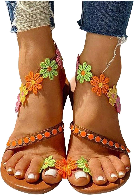 Sandals for Women Dressy Flower Casua Lace Flat Regular dealer Toe Open shipfree