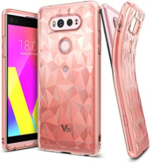 Ringke Air Prism Compatible with LG V20 Case 3D Contemporary Design Slim Geometric Stylish Diamond Pattern Flexible Full-Body Textured Protective TPU Drop Resistant Cover for LG V20 - Rose Gold