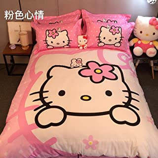 CASA Children 100% Cotton Hello Kitty Duvet cover and Pillow cases and Fitted Sheet,Duvet cover set,4 Pieces,Full