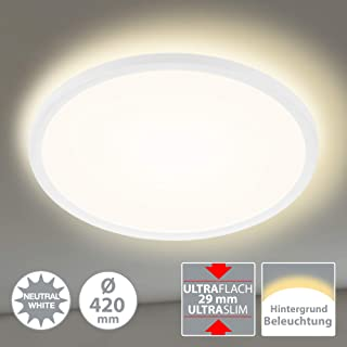 Briloner Leuchten Panel LED, lámpara de Techo, Incluye Efecto de luz de Fondo, 22 vatios, 3000 lúmenes, 4000 Kelvin, Blanco, Redondo, 42 cm de diámetro, W