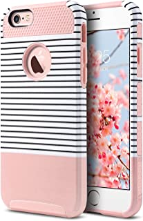 ULAK iPhone 6s Case, iPhone 6 Case, Stylish Hybrid Slim Fit Protective Shock-Absorption TPU Bumper Anti-Scratch Phone Cover for Apple iPhone 6 / iPhone 6s 4.7 inch (Rose Gold/Black Stripe)