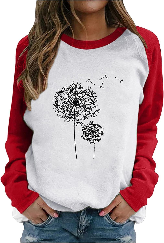 PLENTOP Tunic Blouse Womens Raglan Shirts Baseball Tee Round Neck Slim T-Shirt Patchwork Print Blouse