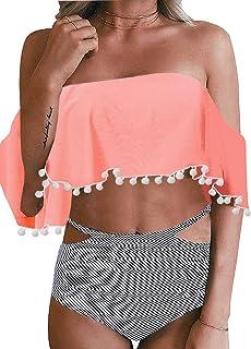Bdcoco Womens Two Piece Off Shoulder Swimsuit High Waist Ruffled Pom Pom Tassel Bikini Set