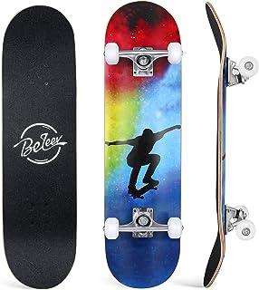 BELEEV Skateboard 31x8 inch Completo Cruiser Skateboard per Bambini, Giovani e Adulti, 7 Strati di Acero Canadese Double K...