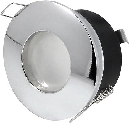geb IP65 LED Feuchtraumleuchte LED Nassraumleuchte Outside Nickel GU10-6er Set 450 Lumen DIMMBAR rund - 5 Watt COB-LED Kaltweiss