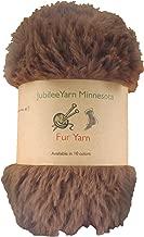 BambooMN Chunky Fluffy Faux Fur Eyelash Yarn - 100% Polyester - 100g/Skein - 2 Skeins - Chestnut Brown