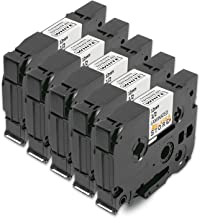 5X Farbband Tape Schriftband für TZ231 TZE231 TZ-231 TZE-231 tze-fx231 tzefx231 AZE-231 AZE231 12mm Schwarz auf Weiß für Brother P-Touch 1000 1010 1080 1090 1200 1200P 1230PC 1250 1280 1290 1750