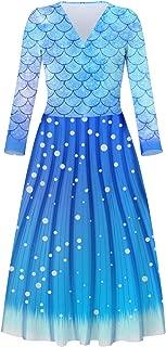 Women's V Neck Dress Adjustable Spaghetti Strap Dresses Summer Hawaiian Flared Swing Dress with Pocket